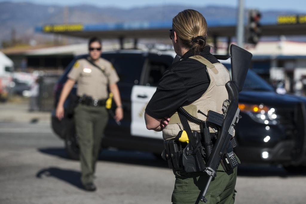 San Bernardino Sounty Sheriff's deputies. on Wednesday, Dec. 2, 2015 during an active shooter situation following a mass shooting at the Inland Regional Center.