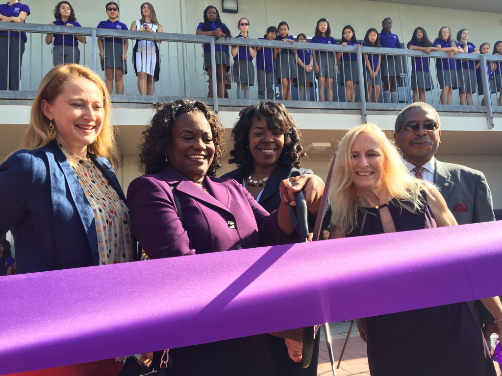 FILE - Superintendent Michelle King at a ceremonial ribbon-cutting ceremony for the new Girls Academic Leadership Academy at Los Angeles High School in the Mid-City neighborhood on Aug. 15, 2016.