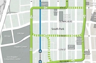 A portion of the route for the proposed streetcar system in downtown Los Angeles.