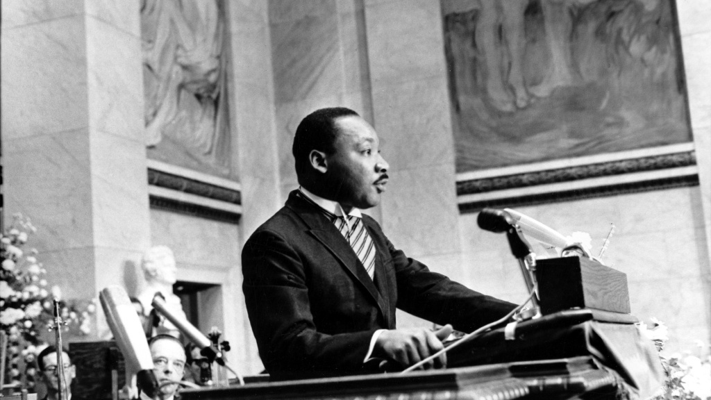 Martin Luther King Jr. delivers his Nobel Peace Prize acceptance speech in Norway in 1964.