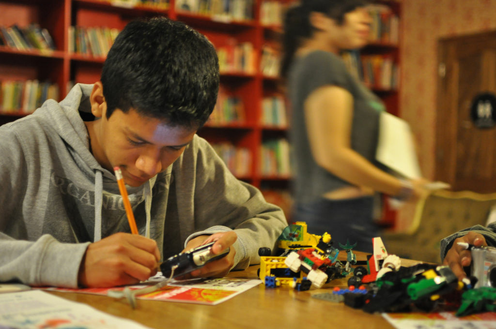 A student during an 826LA writing workshop. The literary group, started by novelist Dave Eggers, is unveiling a collection of writing by Los Angeles teenagers this week.