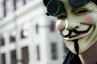 What lies behind this Guy Fawkes mask? Perhaps a legion of hackers.