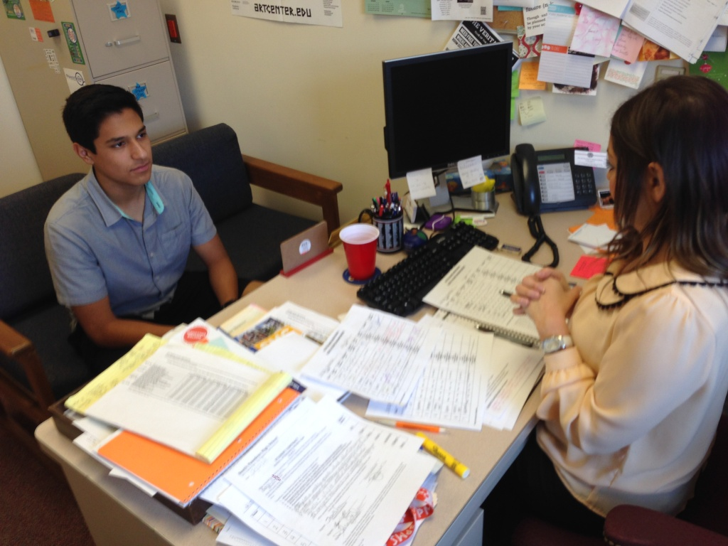 South Pasadena High School counselor Sandra Jarrous helps tenth grader Erick Amaya and the school's other Latino students on the path to college.