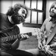 Jerry Garcia and Bob Weir backstage in 1977.