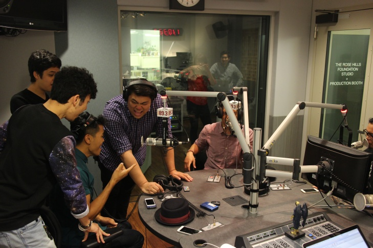 Members of the Filharmonic sing at KPCC.