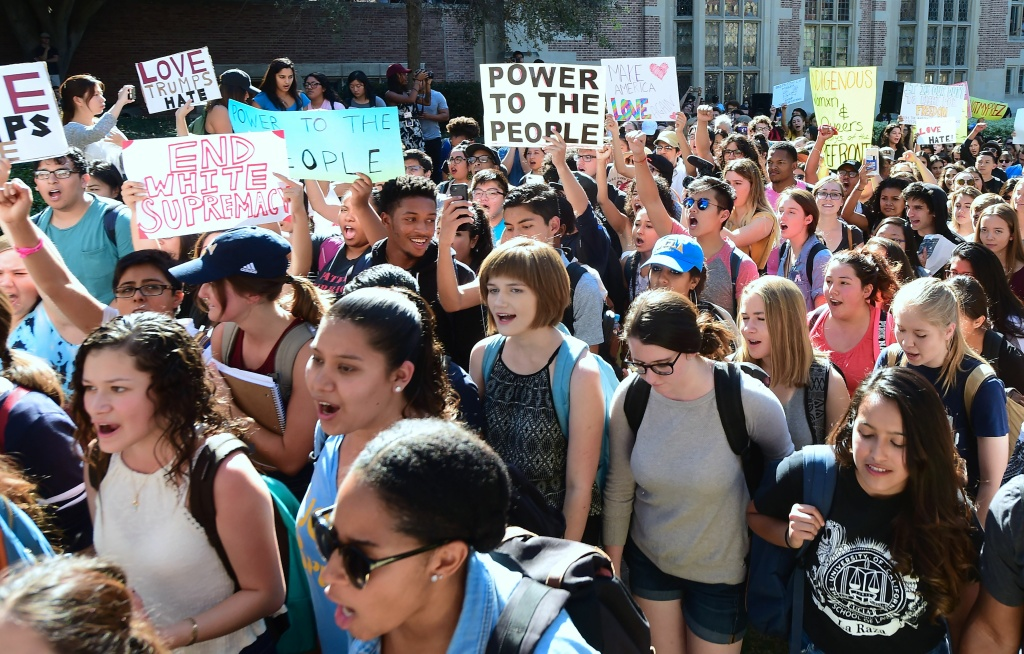 University of California Los Angeles students march through campus on November 10, 2016 in Los Angeles, California, during a