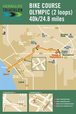 The bike course of the L.A. Triathlon