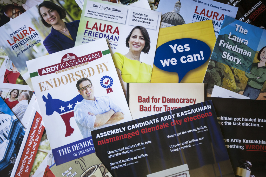 Political mailers from the 43rd Assembly District, where voters were deluged. Many mailers came not from campaigns but outside groups.