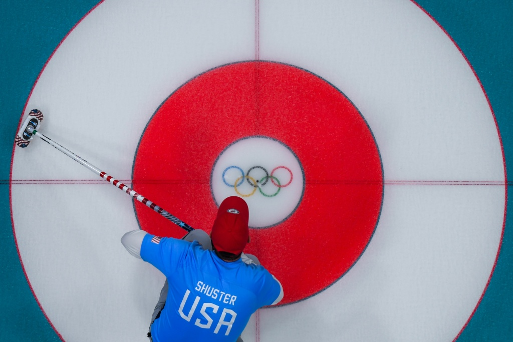 USA's John Shuster waits for the stone during the curling men's gold medal game between the USA and Sweden during the Pyeongchang 2018 Winter Olympic Games at the Gangneung Curling Centre in Gangneung on February 24, 2018. / AFP PHOTO / François-Xavier MARIT        (Photo credit should read FRANCOIS-XAVIER MARIT/AFP/Getty Images)