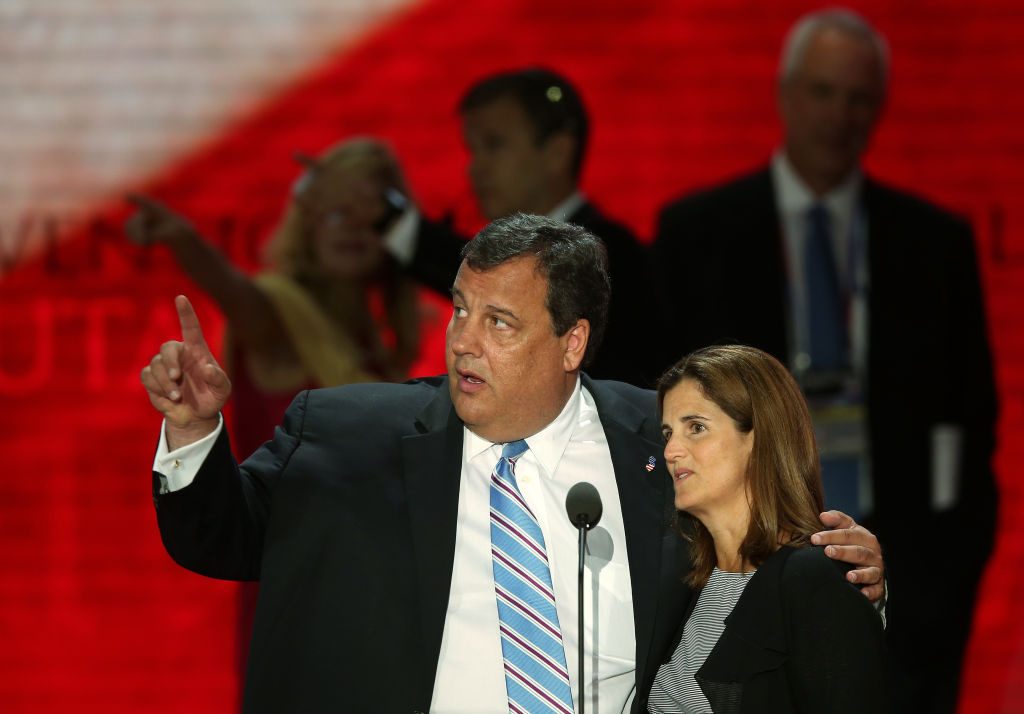 New Jersey Gov. Chris Christie, who will give the keynote address and his wife Mary Pat Christie stand on stage for a soundcheck during the Republican National Convention at the Tampa Bay Times Forum on August 28, 2012 in Tampa, Florida. Today is the first full session of the RNC after the start was delayed due to Tropical Storm Isaac.  (