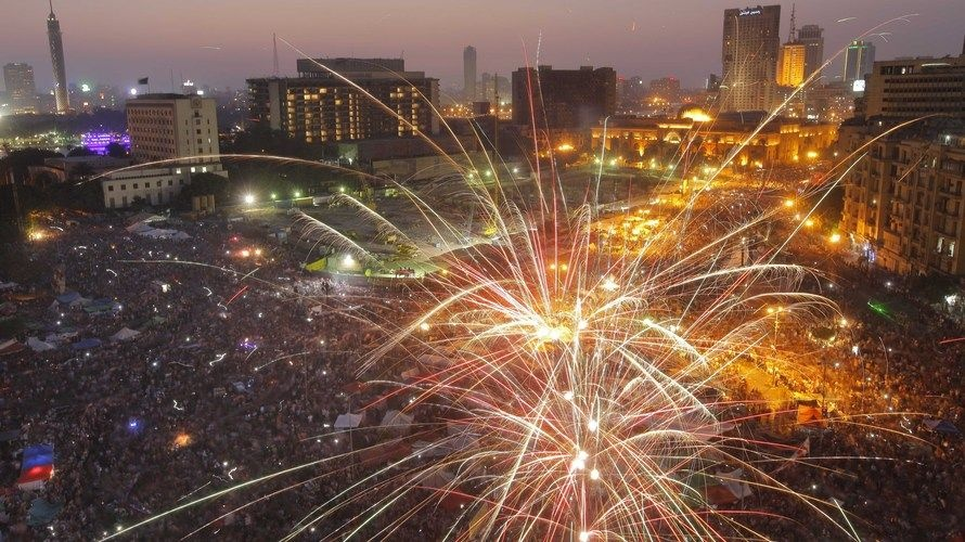 Fireworks illuminate Tahrir Square in Cairo, Egypt, to celebrate the victory of of Mohammed Morsi, in the country's presidential election on Sunday.