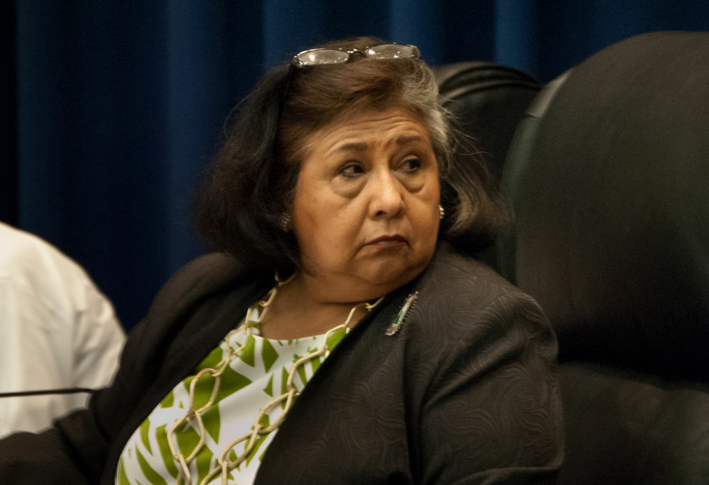 Supervisor Gloria Molina looks onto the crowd during a board meeting at the Hall of Administration on June 6, 2012.