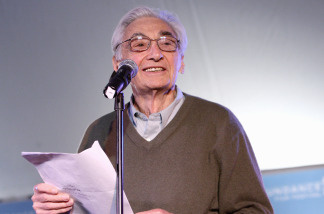 Author Howard Zinn speaks during the People Speak ASCAP Music Cafe performance held during the 2009 Sundance Music Festival on January 22, 2009 in Park City, Utah.