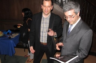 Chon Noriega, director of UCLA Chicano Studies Research Center (left), and Thomas Saenz, president of the Mexican American Legal Defense and Education Fund, at the unveiling of the first book that documents the Latino Theater Initiative's history, 'Latino Theater Initiative/Center Theater Group Papers 1980 – 2005.'