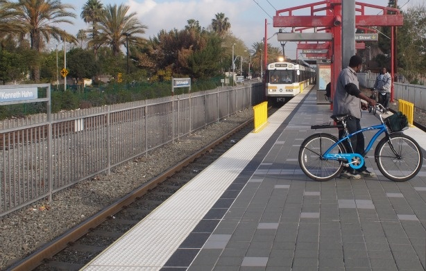 A Blue Line Train arrives at 103rd St/Kenneth Hahn Station, not far from where 57 year old Solanda Rodriguez was struck and killed by the Blue Line.