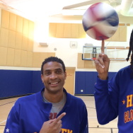 "Harlem Globetrotters Wun ""The Short"" Versher (left) with Jermaine ""Stretch"" Middleton"