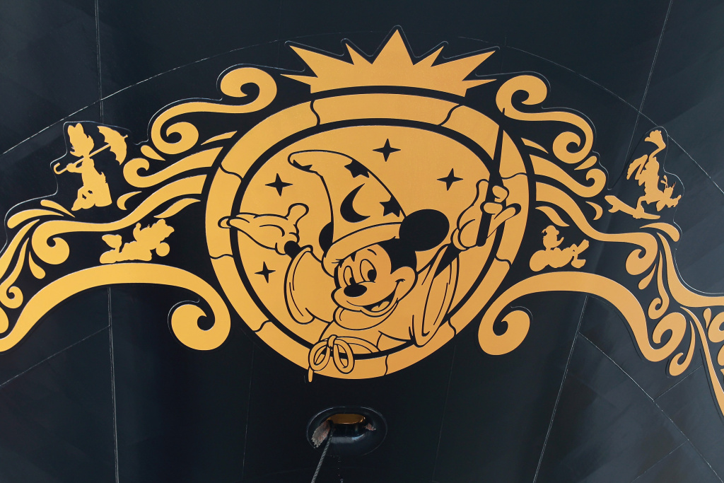 A logo featuring Mickey Mouse is seen on the