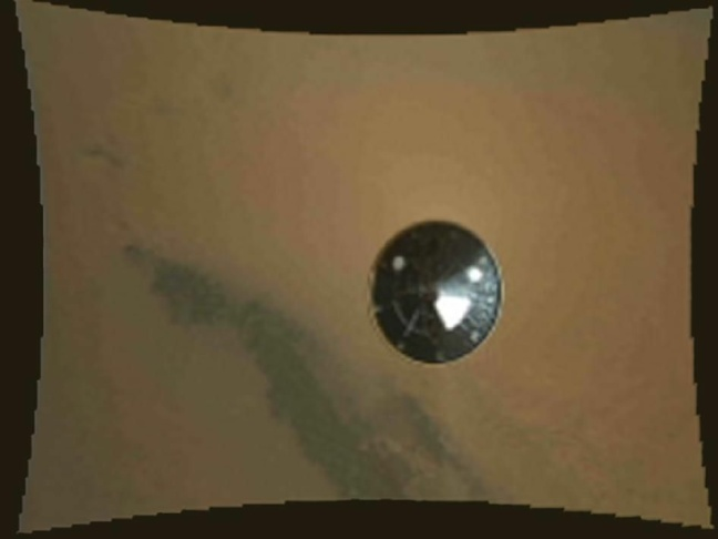 This is the first 360-degree panorama in color of the Gale Crater landing site taken by NASA's Curiosity rover. The panorama was made from thumbnail versions of images taken by the Mast Camera.