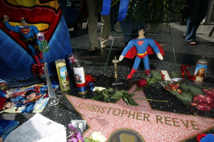 Flowers On The Hollywood Walk Of Fame For Christopher Reeve