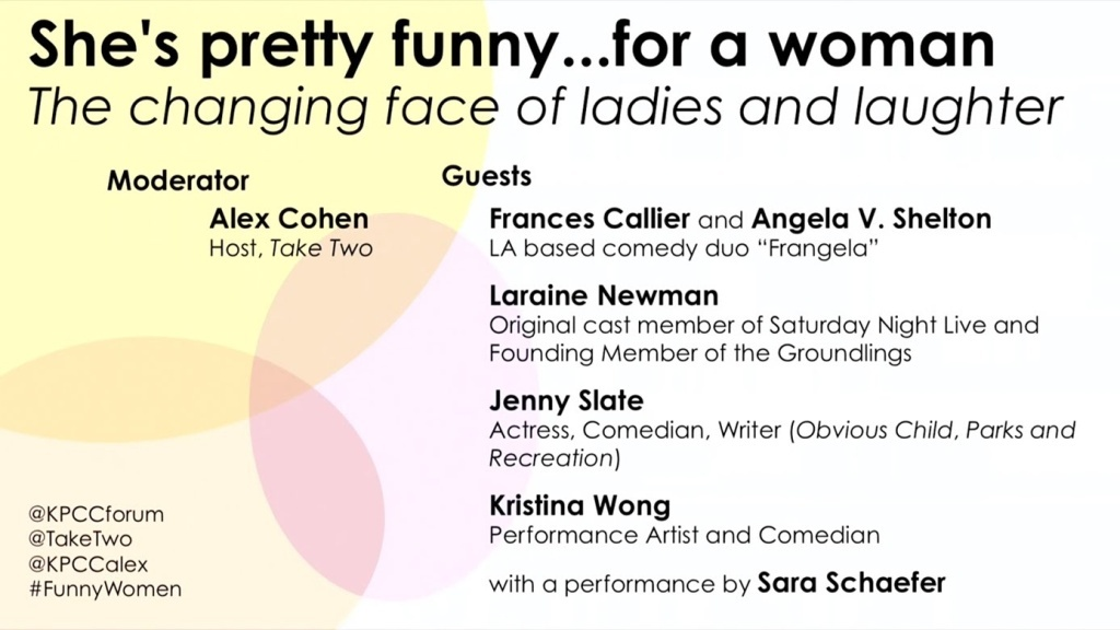Join Take Two's Alex Cohen at our Crawford Family Forum for a raucous evening of fun and laughter as she sits down with some of the funniest ladies working in film and television today to talk about the state of women in comedy.