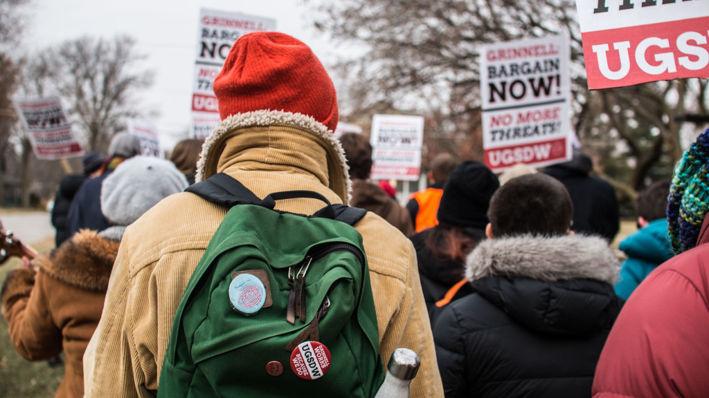 Students at Grinnell College in Iowa hold a protest on Dec. 7 in support of expanding the student workers' union.