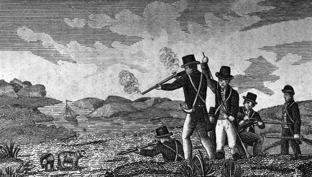 Captain Clark and his men shooting bears. Original Artwork: From  'Journal of Voyages' by Peter Gass - pub 1811.