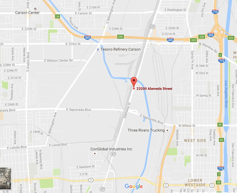 General location of the Tesoro refinery located in both Wilmington and Carson.