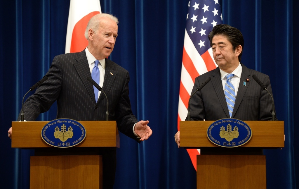 Vice President Joe Biden speaks during a joint press conference with Japanese Prime Minister Shinzo Abe on Tuesday.