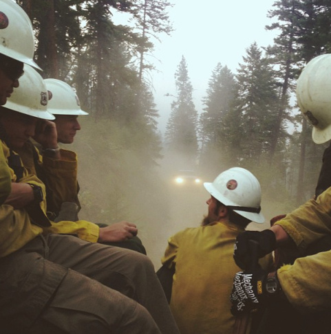 Image captured by firefighter Gregg Boydston, a member of the Klamath Hotshot Crew
