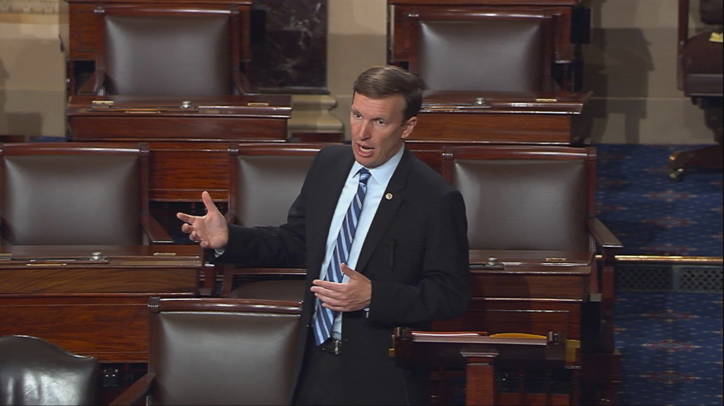 This frame grab provided by Senate Television shows Sen. Chris Murphy, D-Conn. speaking on the floor of the Senate on Capitol Hill in Washington, Wednesday, June 15, 2016, where he launched a filibuster demanding a vote on gun control measures. The move comes three days after people were killed in a mass shooting in Orlando. (Senate Television via AP)