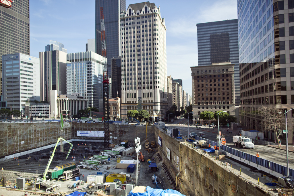Work continues after the world record 18-hour concrete pour finishes on Sunday, Feb. 16 at the site of the future Wilshire Grand tower.