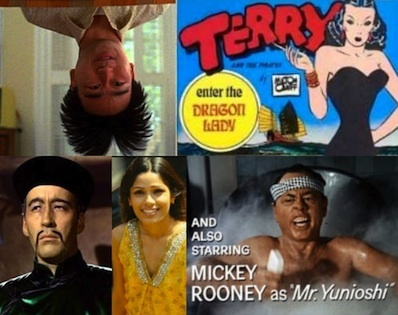 Collage of Asian stereotypes in pop culture