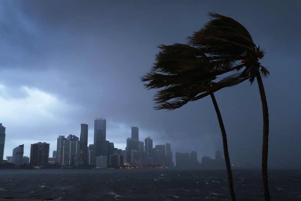 The skyline of Miami is seen as the outer bands of Hurricane Irma start to reach Florida on September 9, 2017.