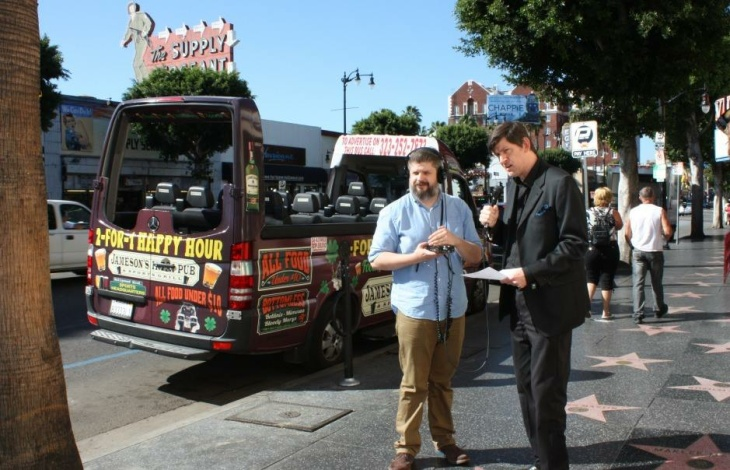 Off-Ramp producer Kevin Ferguson and host John Rabe outside Musso & Frank in Hollywood