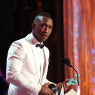 Actor Mahershala Ali, accepting the award for Male Actor in a Supporting Role, during the Screen Actors Guild Awards at The Shrine Auditorium in Los Angeles.