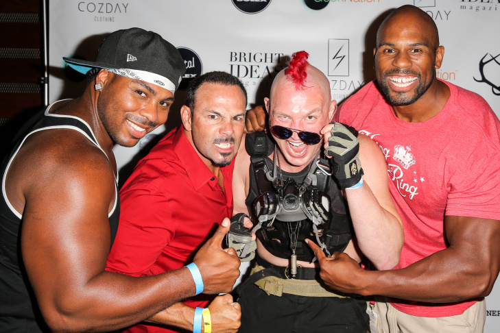 (L-R) JTG, Chavo Guerrero, Mayhem Miller and Chad Gaspar arrive at the Cozday Clothing Launch event sponsored by GeekNation, SHOWRUNNERS, and Digital Bolex at Comic-Con International on July 25, 2014 in San Diego.