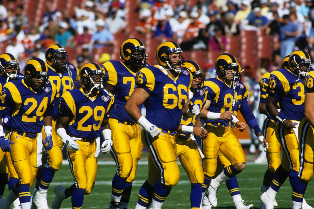 ANAHEIM, CA - NOVEMBER 6:  The Los Angeles Rams take the field for their game against the Denver Broncos at Anaheim Stadium on November 6, 1994 in Anaheim, California.  The Rams won 27-21.  (Photo by George Rose/Getty Images)