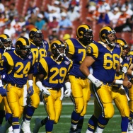 ANAHEIM, CA - NOVEMBER 6:  The Los Angeles Rams take the field for their game against the Denver Broncos at Anaheim Stadium on November 6, 1994 in Anaheim, California.  The Rams won 27-21.  The team returns to California to start their season next week. (Photo by George Rose/Getty Images)