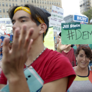 Supporters cheer as Dr. Jill Stein, presumptive Green Party presidential nominee, speaks at a rally in Philadelphia, Wednesday, July 27, 2016, during the third day of the Democratic National Convention. (AP Photo/Alex Brandon)