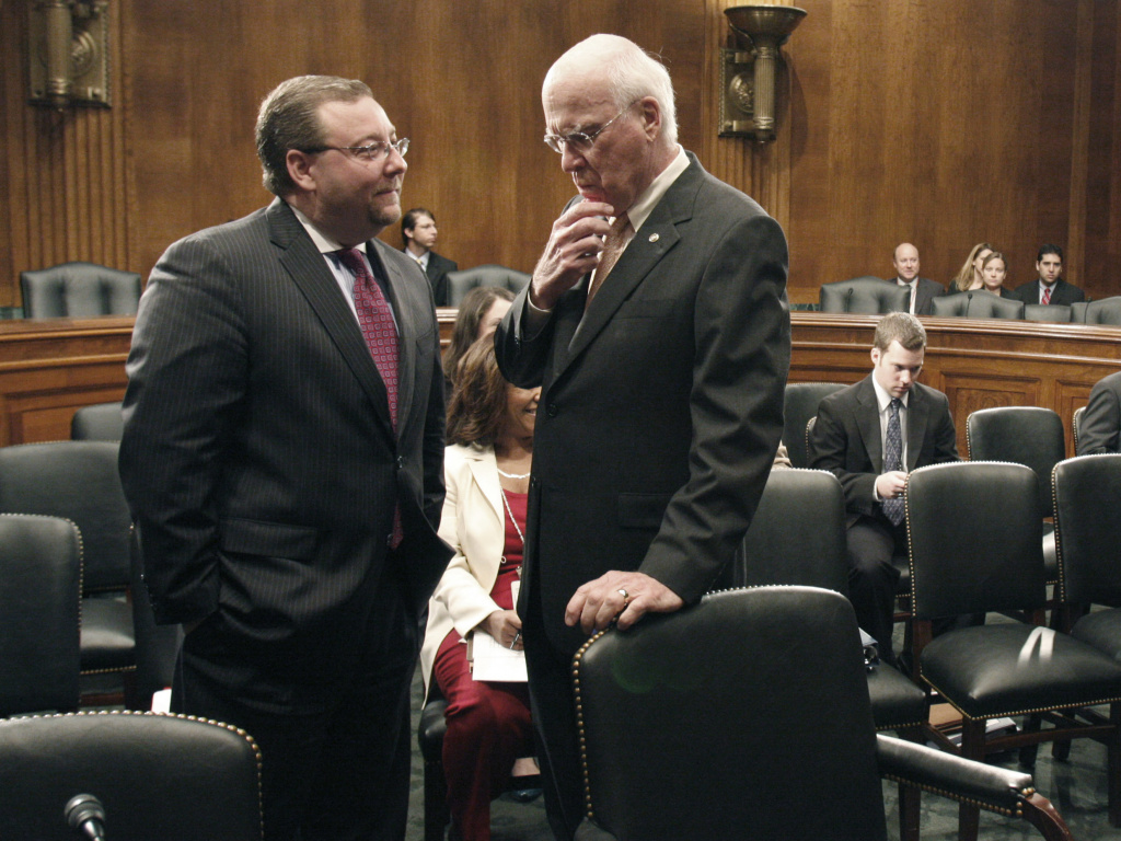 Senate Judiciary Committee Minority Staff Director Brian Benczkowski (left) talks with Senate Judiciary Committee Chairman Patrick Leahy, D-Vt.on June 11, 2009, on Capitol Hill in Washington.