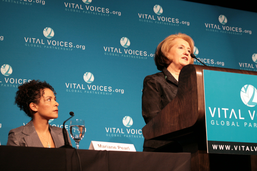 Fern Holland Award recipient Mariane Pearl listens while Vital Voices Chair Melanne Verveer speaks at the news conference for Vital Voices' 2008 Global Leadership Awards on April 7, 2008, in Washington, DC.