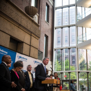 NYC Mayor De Blasio Holds Press Conference At Hopsital Treating Ebola Patient