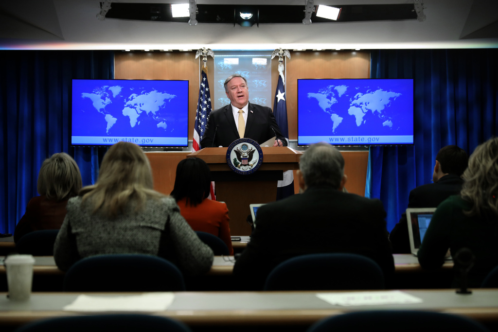 U.S. Secretary of State Mike Pompeo holds a news briefing at the State Department February 01, 2019 in Washington, DC.