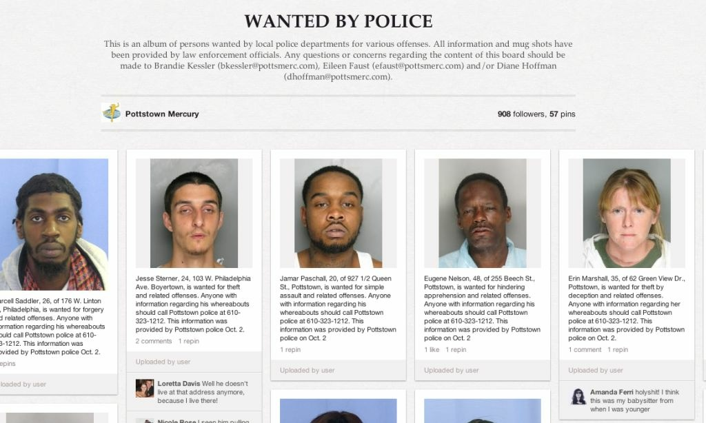 Screenshot of Pottstown, Pennsylvania's wanted Pinterest page.