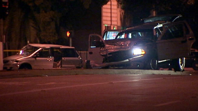 Two people were killed when an SUV being pursued by police crashed into a minivan in Pasadena Christmas night.
