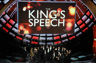 The cast and crew of 'The King's Speech,' celebrates their trophy for Best Movie at the 83rd Annual Academy Awards at the Kodak Theatre on February 27th, 2011 in Hollywood, California.