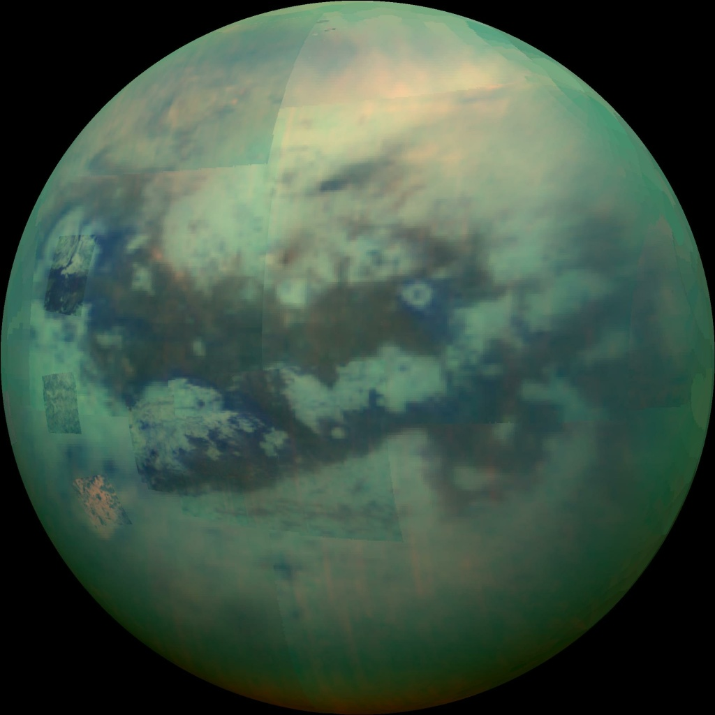 An infrared view of Saturn's moon Titan taken by Cassini on November 13, 2015.