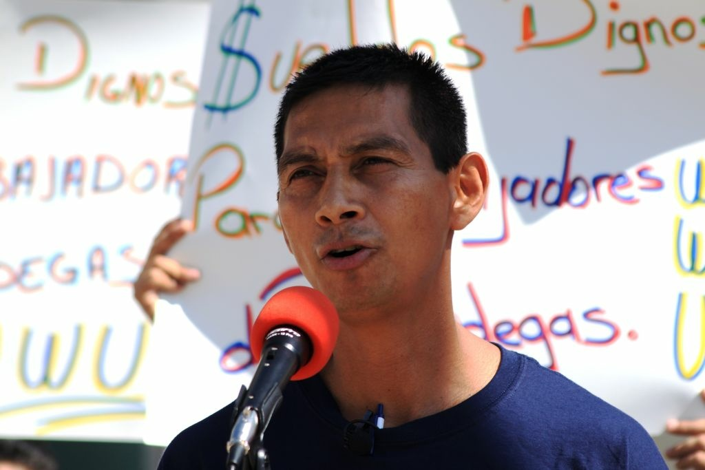 Warehouse employee Juan Chavez spoke at a news conference Tuesday about a class action labor lawsuit that has been filed against companies doing business in the Inland Empire warehousing industry.