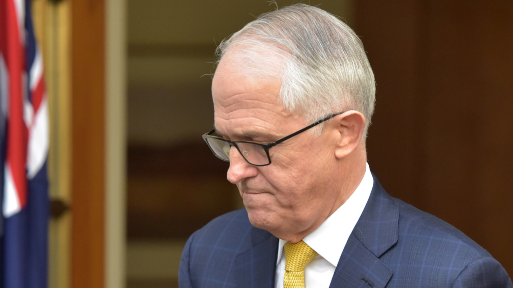 Australia's Prime Minister Malcolm Turnbull leaves a press conference in Parliament House in Canberra on Wednesday.