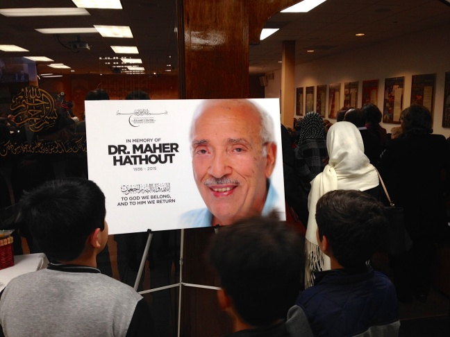 More than 1,000 fellow Muslims and friends of the late Dr. Maher Hathout attend a memorial service at the Islamic Center of Southern California in Koreatown.